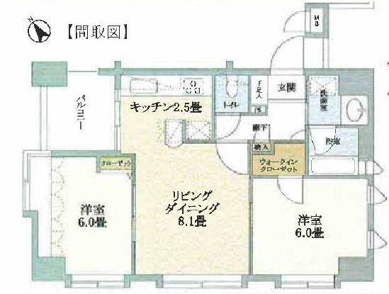物业地址:日本东京都荒川区西尾久4丁目 物业类型:公寓 户型:2室1厅1